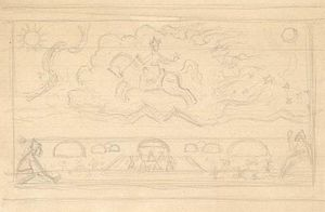 Nicholas Roerich - Composition sketch for ''Great Horseman''