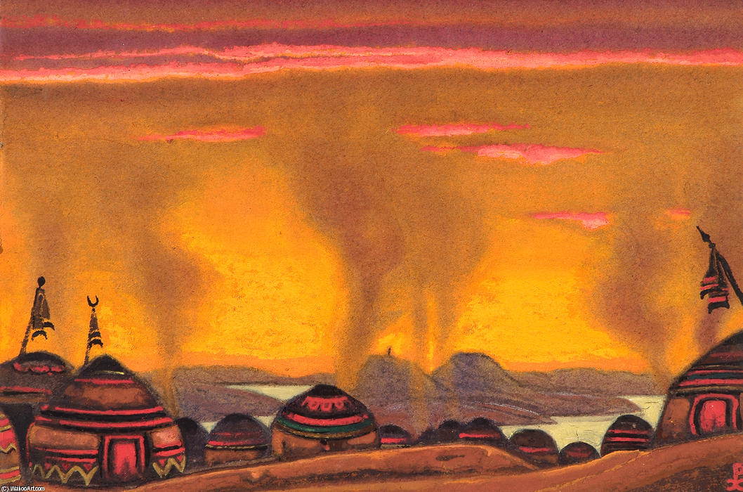 Polovtsian Camp. Décor for ``Polovtsian Dances`` by Nicholas Roerich (1874-1947, Russia) | Reproductions Nicholas Roerich | WahooArt.com