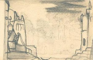 Nicholas Roerich - Scenery sketch for stage design 2