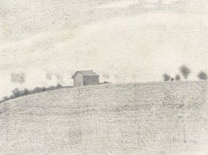 Nicholas Roerich - Sketch of landscape with barn