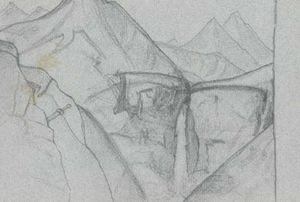 Nicholas Roerich - Sketch of Palden Lhamo waterfall in Chandra valley