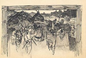 Nicholas Roerich - Sketch of scene from ancient life