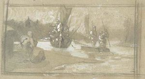 Nicholas Roerich - Sketch of scene from Varangian life