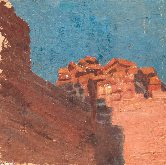 Study of walls, 1895 by Nicholas Roerich (1874-1947, Russia) | Museum Art Reproductions Nicholas Roerich | WahooArt.com
