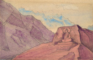 Nicholas Roerich - Study with Maitreya carved in rock