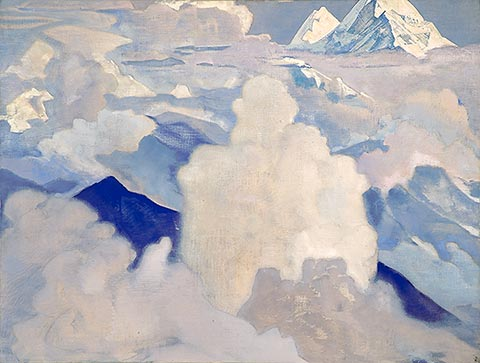 White and Heavenly, Oil by Nicholas Roerich (1874-1947, Russia)