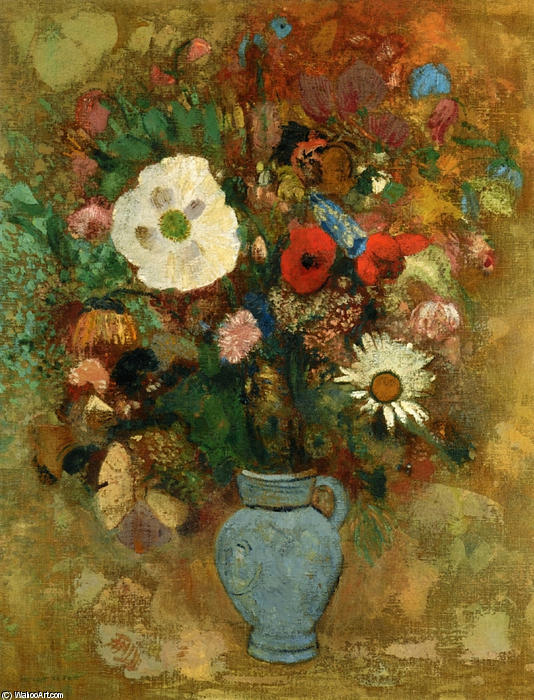Bouquet of Flowers, 1904 by Odilon Redon (1840-1916, France) | Museum Art Reproductions Odilon Redon | WahooArt.com