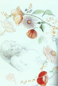 Odilon Redon - Bust of a Man Asleep amid Flowers