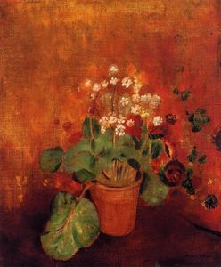 Odilon Redon - Flowers in a Pot on a Red Background