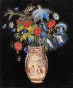 Odilon Redon - Large Boquet on a Black Background