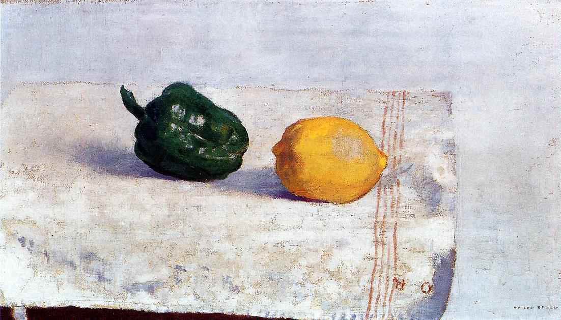 Pepper and Lemon on a White Tablecloth, 1901 by Odilon Redon (1840-1916, France) | Art Reproductions Odilon Redon | WahooArt.com