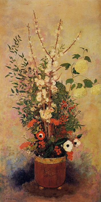 Order Art Reproductions | Vase of Flowers with Branches of a Flowering Apple Tree, 1906 by Odilon Redon (1840-1916, France) | WahooArt.com