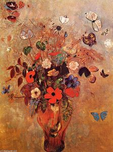 Odilon Redon - Vase with Flowers and Butterflies