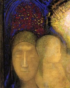 Odilon Redon - Woman and Child against a Stained Glass Background