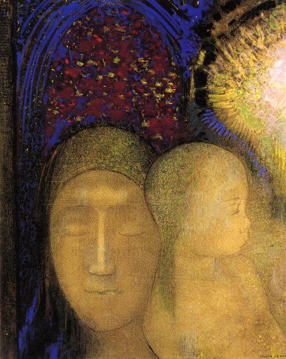 Woman and Child against a Stained Glass Background by Odilon Redon (1840-1916, France) | Paintings Reproductions Odilon Redon | WahooArt.com