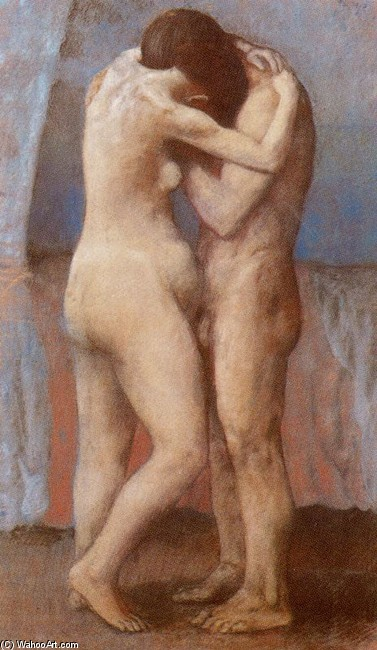 El abrazo, Oil by Pablo Picasso (1881-1973, Spain)