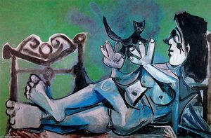 Pablo Picasso - Naked woman playing with a cat