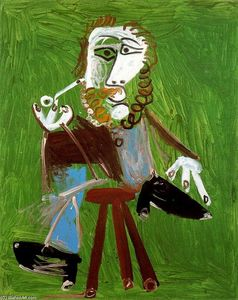 Pablo Picasso - Seated man with pipe 1