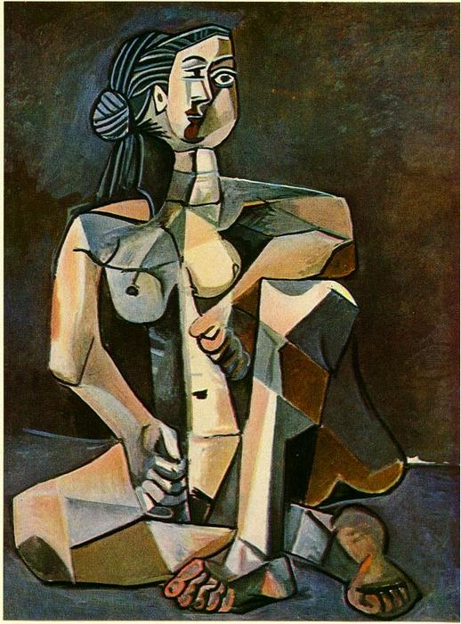 Seated woman (10), Oil On Canvas by Pablo Picasso (1881-1973, Spain)
