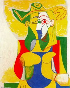 Pablo Picasso - Seated Woman with yellow and green hat