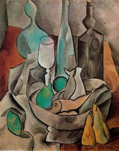 Pablo Picasso - Still life with fish and bottles