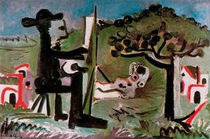 Pablo Picasso - The painter and his model in a landscape