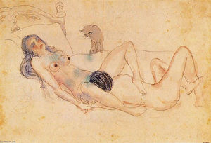 Pablo Picasso - Two nudes and a cat