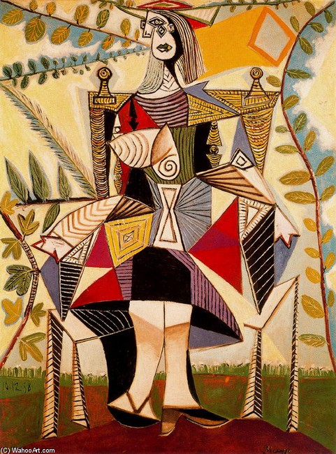 Woman standing in a garden, Oil by Pablo Picasso (1881-1973, Spain)