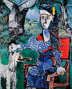 Pablo Picasso - Woman with dog under a tree