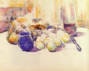 Paul Cezanne - Blue Pot and Bottle of Wine (aka Still Life with Pears and Apples, Covered Blue Jar, and a Bottle of Wine)