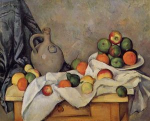 Paul Cezanne - Curtain, Jug and Fruit - (Famous paintings)