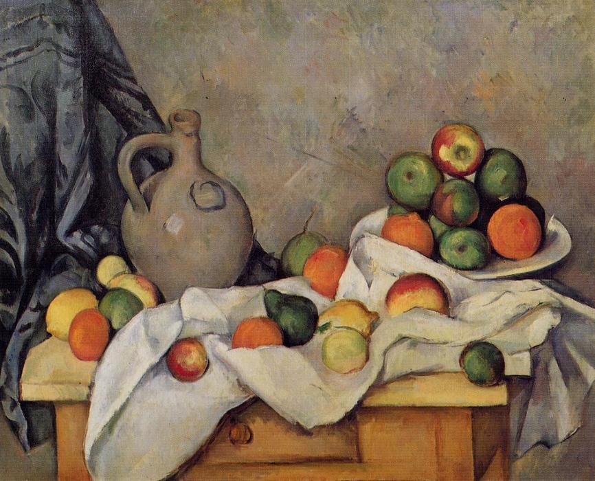 Curtain, Jug and Fruit, Oil On Canvas by Paul Cezanne (1839-1906, France)