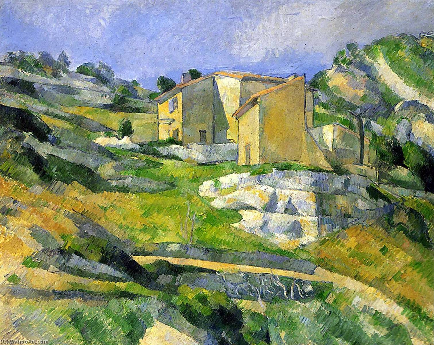 Houses in Provence - the Riaux Valley near L'Estaque, Oil On Canvas by Paul Cezanne (1839-1906, France)
