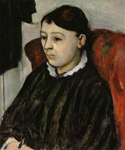 Paul Cezanne - Madame Cezanne in a Striped Robe