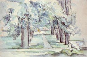 Order Art Reproduction : Pool and Lane of Chestnut Trees at Jas de Bouffan, 1880 by Paul Cezanne (1839-1906, France) | WahooArt.com