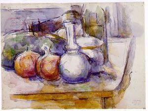 Paul Cezanne - Still Life with Carafe, Sugar Bowl, Bottle, Pommegranates and Watermelon