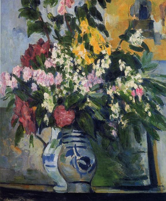 Two Vases of Flowers, Oil On Canvas by Paul Cezanne (1839-1906, France)