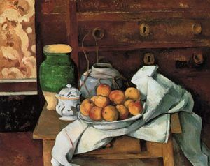 Paul Cezanne - Vessels, Fruit and Cloth in front of a Chest