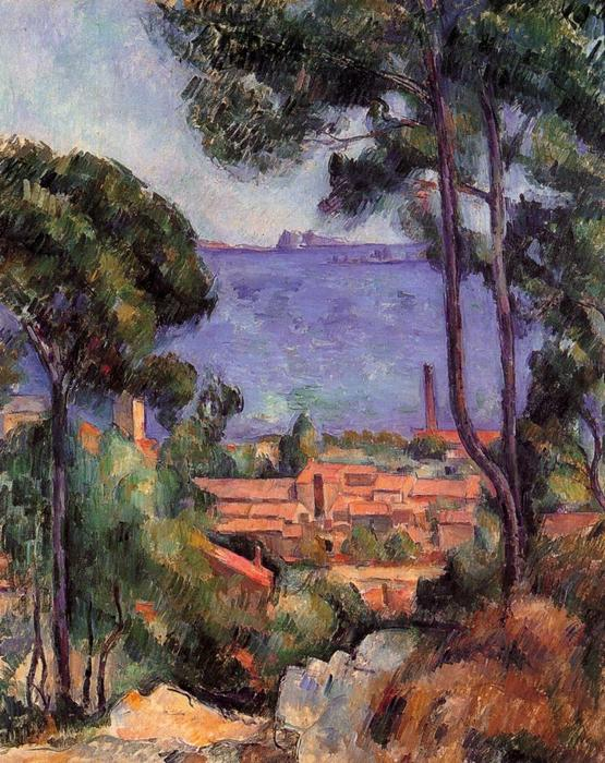 View through the Trees, 1882 by Paul Cezanne (1839-1906, France) | Art Reproductions Paul Cezanne | WahooArt.com