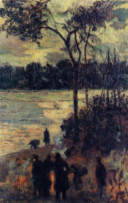 Order Museum Quality Reproductions : Fire by the water, 1886 by Paul Gauguin (1848-1903, France) | WahooArt.com