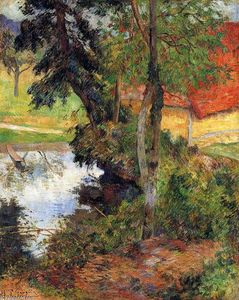 Paul Gauguin - Red roof by the water