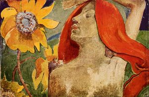 Paul Gauguin - Redheaded woman and sunflowers
