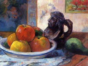 Paul Gauguin - Still Life with Apples, Pear and Ceramic Portrait Jug