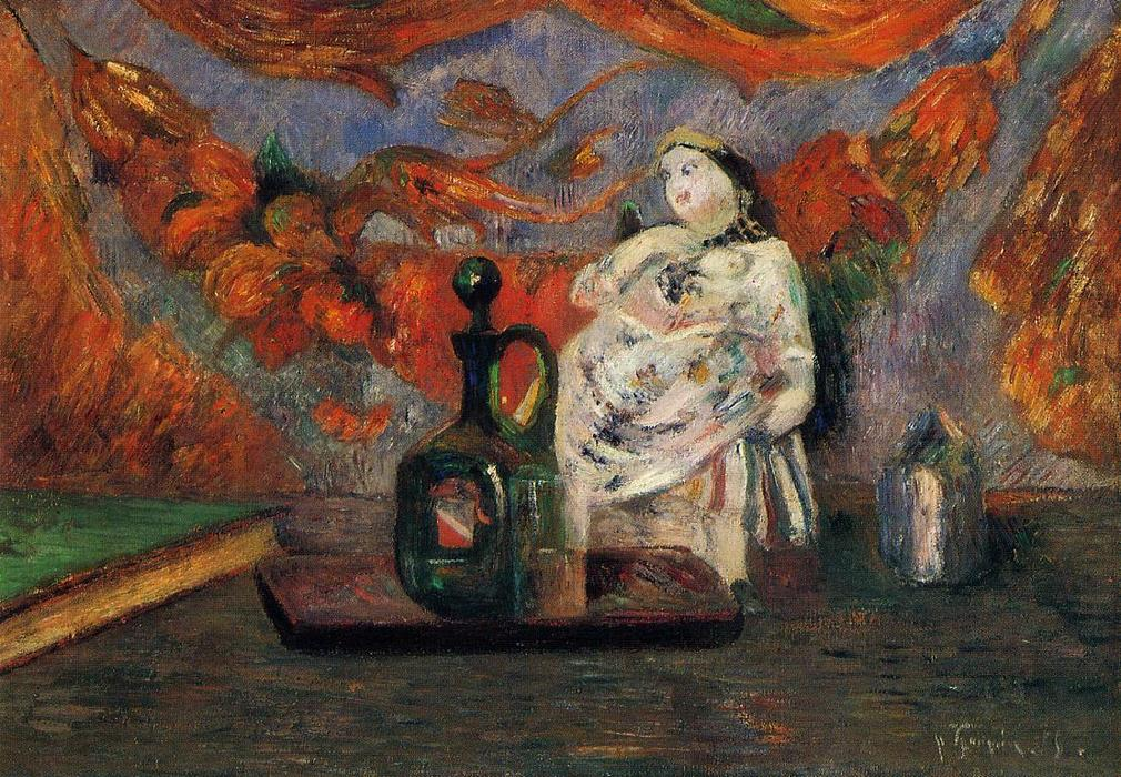 Still life with carafe and ceramic figure, 1885 by Paul Gauguin (1848-1903, France) | Reproductions Paul Gauguin | WahooArt.com