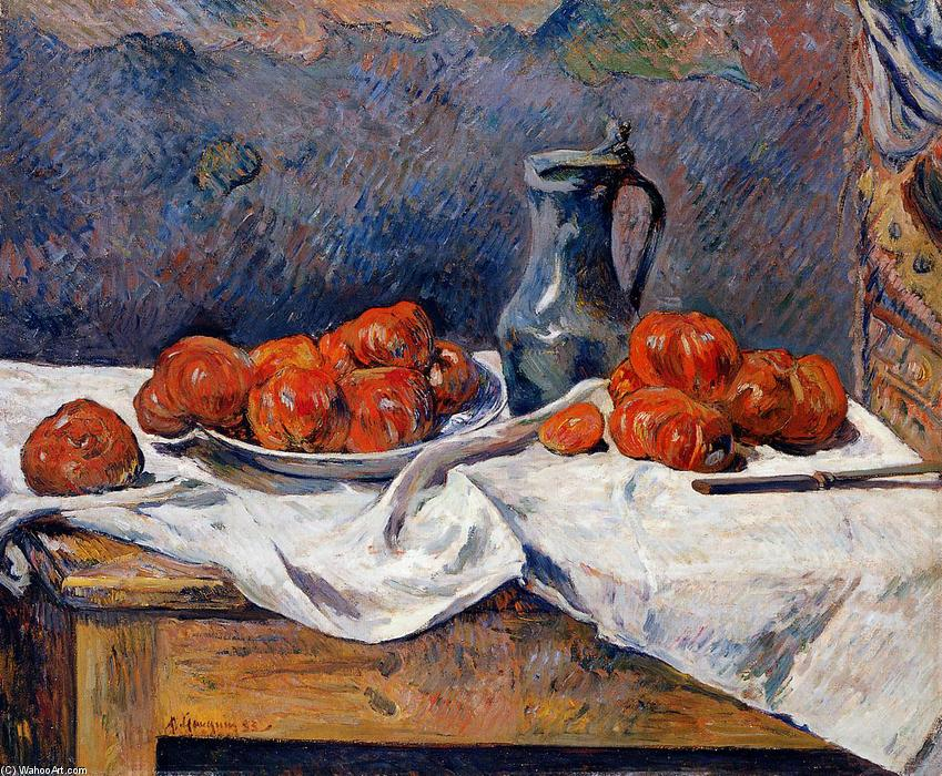Tomatoes and a pewter tankard on a table, Oil On Canvas by Paul Gauguin (1848-1903, France)