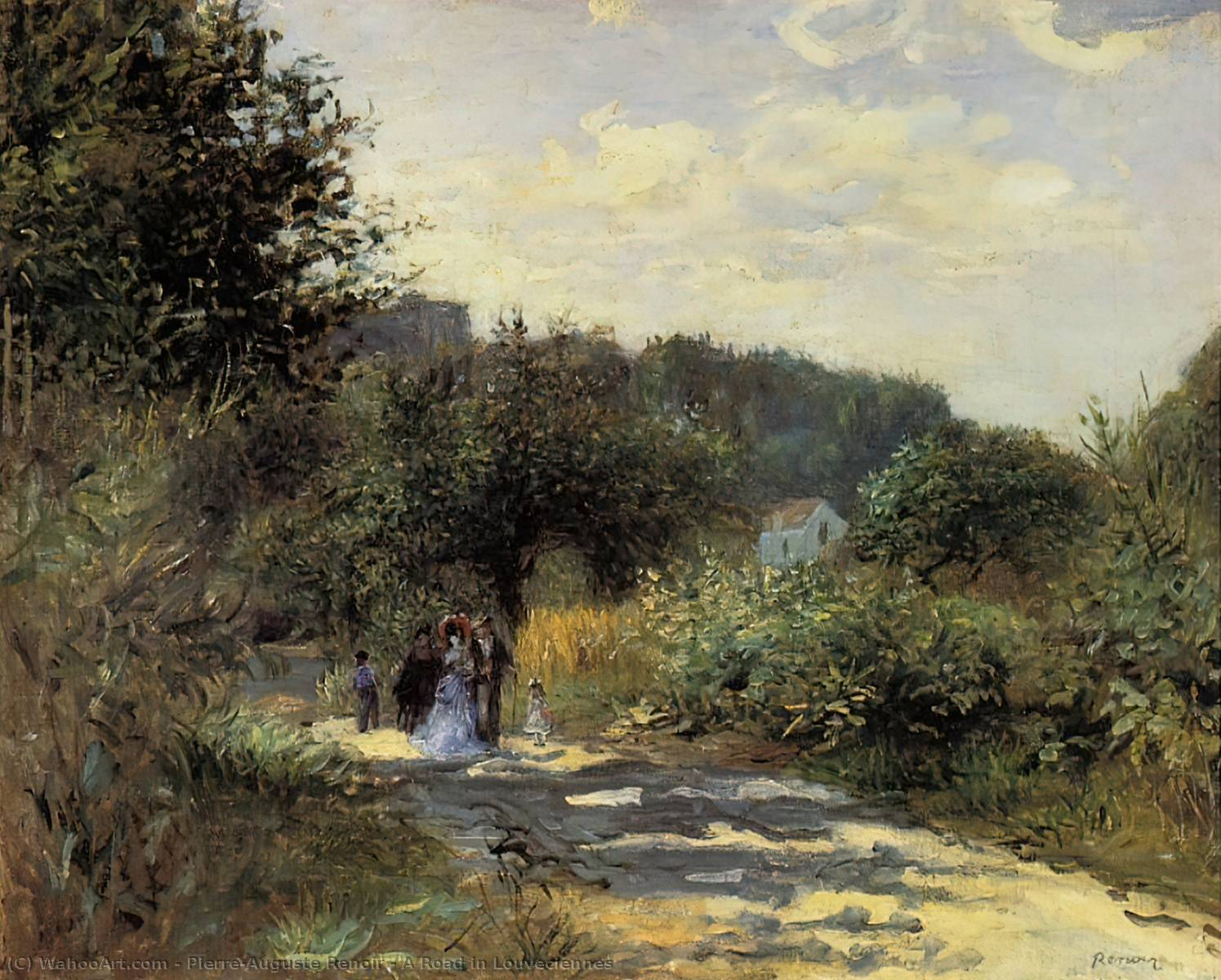 A Road in Louveciennes, 1870 by Pierre-Auguste Renoir (1841-1919, France) | Art Reproductions Pierre-Auguste Renoir | WahooArt.com