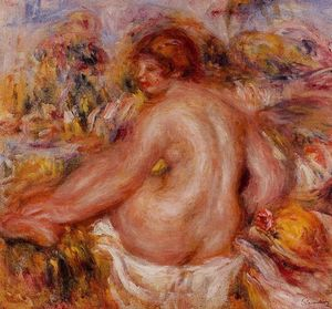 Pierre-Auguste Renoir - After Bathing, Seated Female Nude