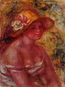 Pierre-Auguste Renoir - Bust of a Young Girl Wearing a Straw Hat