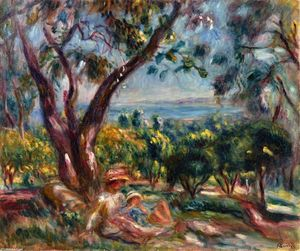 Pierre-Auguste Renoir - Cagnes Landscape with Woman and Child - (oil painting reproductions)