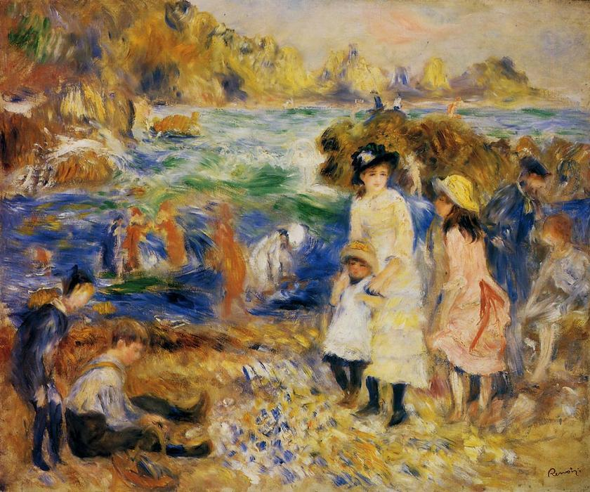 Children by the Sea in Guernsey, 1883 by Pierre-Auguste Renoir (1841-1919, France) | Reproductions Pierre-Auguste Renoir | WahooArt.com